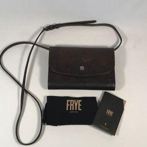 Frye Melissa Wallet Brown Leather Crossbody, New